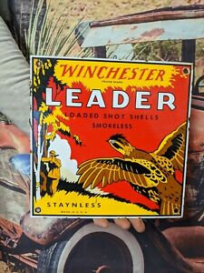 "OLD VINTAGE WINCHESTER ""LEADER"" PORCELAIN ADVERTISING SIGN STAYNLESS SHELLS AMMO"