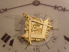SUPERB MASONIC 'ALL SEEING EYE' 12CT GOLD PLATED POCKET WATCH CHAIN FOB.