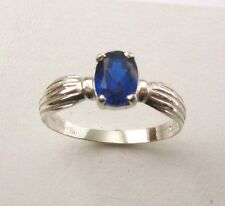 SOLID 925 STERLING SILVER 7x5 mm SEPTEMBER BIRTHSTONE SAPPHIRE DRESS  RING