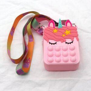 Shoulder Bag Bubble Unicorn Wallet Silicone Push It Fidget Autism Sensory Toys