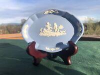 WEDGWOOD Trinket dish Blue Jasperware Cherubs & Dog Oval EXCELLENT