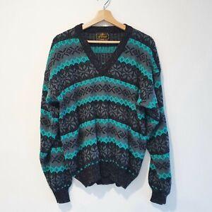 Perizzi Mens Size L Vintage Green Black Grey Metallic Knit V-Neck Sweater Jumper