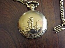 Vintage Pocket Watch With Chain - First Telephone Phone - Japan Movement Gold