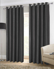 FAUX SILK CURTAINS EYELET LUXURY PAIR OF READY MADE FULLY LINED WITH TIE-BACKS