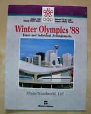 1988 Calgary Winter Olympics Olson Travelworld Western Airlines Brochure