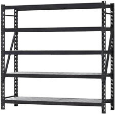 5 Shelf Welded Steel Shelving Unit Wire Deck Black 90 Inch Paint Tools Storage