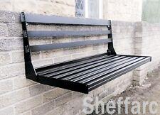 2 Seater Space Saving Bench - Wall Mounted Fold away / Fold up Metal Garden Seat
