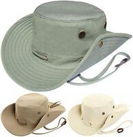 Mens Aussie Bush Hat 100% Cotton Wide Brim Safari Sun Cap Australian Summer Hat