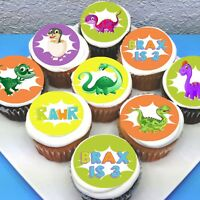 "Dinosaur Edible Icing Cupcake Toppers - 2"" - PRE-CUT - Sheet of 15"