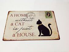 Metal Sign CAT PET HOME  Vintage Picture Tavern  Wall Tin Cafe Decor bar poster