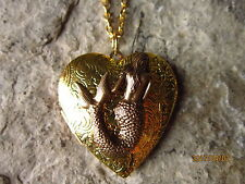 BRONZE MERMAID GOLD PLATED HEART LOCKET - UNIQUE - VACATION - CRUISE - NAUTICAL