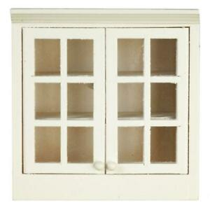 Dolls House White Double Wall Cabinet Display Unit 1:12 Kitchen Furniture