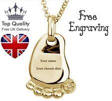 Collar de nombre childs pie Personalizado Grabado Oro, Reino Unido