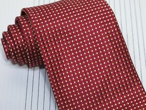 New Charvet Tie Burgundy Red with Gold Dots Woven Silk  57 x 3 1/2