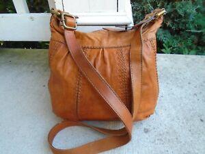 Vintage Fossil Fossil tan leather bucket crossbody bag