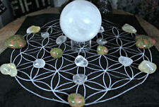 "LARGE 12"" VELVET EMBROIDERED FLOWER OF LIFE CRYSTAL GRID MAT OR WALL  HANGING"