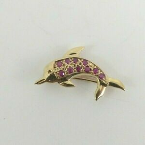 9ct Gold Dolphin Pendant Brooch Ruby set Sea Hallmarked 25mm with gift box