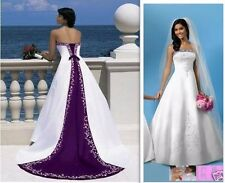 New White/Purple Satin Embroidery Wedding Dress Bridal Gown Prom Stock Size 6-20