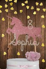 Personalised girls unicorn birthday cake topper pink princess age name glitter