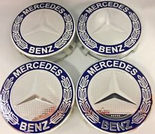 4 Pcs/Set, MERCEDES BENZ, Wheel Center, Hub Caps, Chrome, Dark Blue, 75mm, 3""