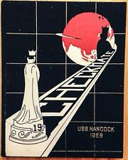1958 USS HANCOCK CVA-19 U.S. NAVY WESTPAC CRUISE BOOK, AIR GROUP 15, CHESS THEME