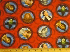 """Wizard Oz Character Fabric 25"""" Christmas Tree skirt Dorothy witch scarecrow RED"""