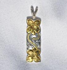 And Scroll Design Pendant New Hawaiian Silver 2-Tone Plumeria