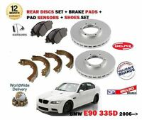 FOR BMW 335D E90 2006->NEW REAR BRAKE DISCS SET + PADS + PAD SENSOR + SHOES KIT