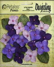PURPLE 18 HYDRANGEAS Paper Flowers 25-35mm & 6 Leaves 25x30mm Darjeeling Petaloo