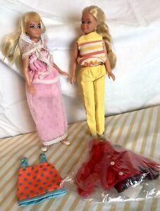 2 Vintage 1967 Blonde tan Barbie Skipper Dolls Tagged Clothes Shoes Straight Leg