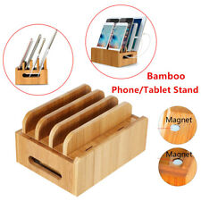 Car Home Bamboo Multi-device Organizer Stand Charging Station Dock Phone Tablet(Fits: More than one vehicle)