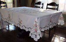 """72""""x108"""" Large Embroidered Tablecloth Spring Floral Topper Holiday Home Decor"""