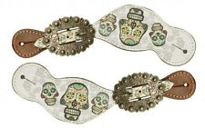 Showman LADIES Western Spur Straps w/ Sugar Skull Design! NEW HORSE TACK