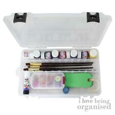 Strong Storage Box w/ Compartments Art Supplies Tools Paints Black Clasp Box