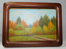 Vintage Oil Painting Russian Foliage Fall Landscape Frame Picture signed