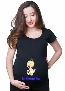Maternity T Shirts Tee Let Me Outta Here T-Shirt Mom Maternity T shirt