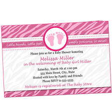 30 Invitations Baby Girl Shower Zebra Pink Personalized Card Invites A1