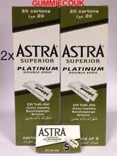 200 ASTRA SUPERIOR PLATINUM DOUBLE EDGE SAFETY RAZOR BLADES,wet Shave Free P&P
