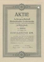 AG Hilchenbacher Lederwerke Hilchenbach histor. Aktie 1942 Siegerland Gerberpark