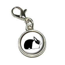 Dutch Rabbit - Antiqued Bracelet Pendant Zipper Pull Charm with Lobster Clasp