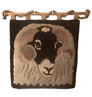 Hanging Wool Rug With Ram Design 37 x 37in Wood Hanging Rod And Rope Included