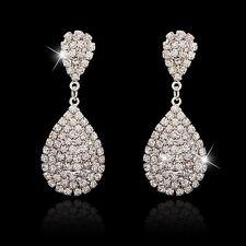 UK BRIDAL/WEDDING Luxury Silver Diamanté/Crystal Pave Large Teardrop Earrings