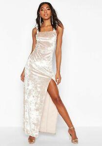 Boohoo thigh split dress UK 12 - 14 women's crushed velvet maxi tall range