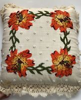 VTG Handmade1980 Crochet Embroidery Pillow with Insert Signed Dated Flowers