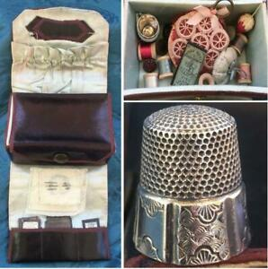 ANTIQUE SHAKER c.1900 BRONZED LEATHER SEWING KIT BOX w/ STERLING THIMBLE & MORE