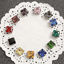 50pcs 10mm Sew On glass square foiled rhinestone crystal cabochons D claw y-pk