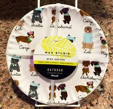 Dressed Up Dogs Scottie/Dachshund/Lab/Corgi/Pug Melamine Salad Plates ~ Set/6