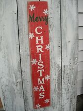 "Wood Porch Sign Merry Christmas Vertical Distressed Red Handmade 33"" Tall"