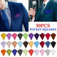 Mens Handkerchiefs 30 Solid Color Lot Set Handkerchief Hanky Silk Pocket Square