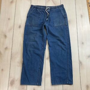 Eddie Bauer Jeans Mens Large Elastic Drawstring Waist Denim Relaxed